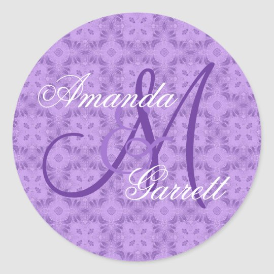 Purple Wedding Custom Monogram V12 Classic Round Sticker