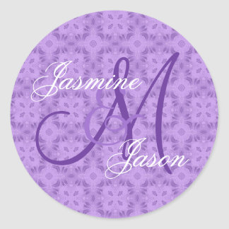 Purple Wedding Custom Monogram V12 Classic Round Sticker