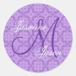 Purple Wedding Custom Monogram V12 Sticker