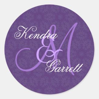 Purple Wedding Custom Monogram V14 Classic Round Sticker