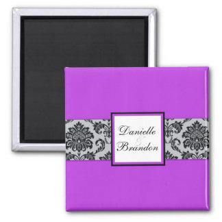 Purple Wedding Damask Magnet