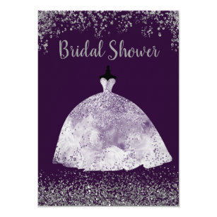 purple wedding dress silver glitter bridal shower invitation