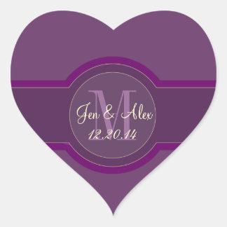 Purple Wedding Favour Stickers Heart Shaped