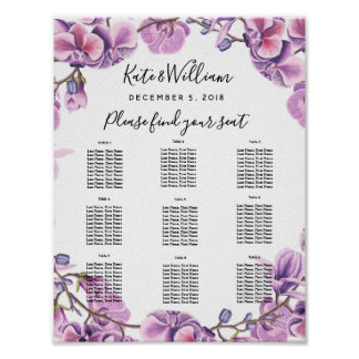 purple wedding floral Table plan party/wedding Poster