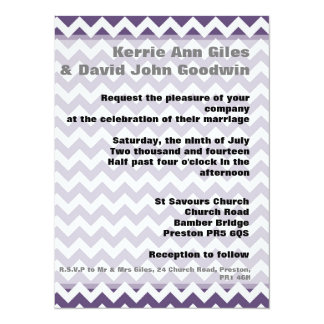 Purple Wedding Invitations Chevron Wedding Invite 14 Cm X 19 Cm Invitation Card