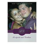 Purple Wedding Invitations with Photo Silver Paper