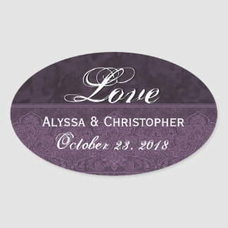 Purple Wedding Love Damask and Ribbon Oval Sticker