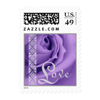 PURPLE Wedding LOVE Rose SILVER Lace Stamp
