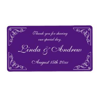 Purple wedding party favor water bottle labels