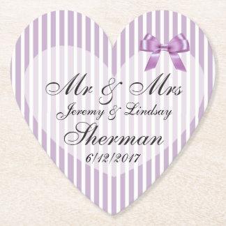 Purple Wedding Personalized Custom Paper Coaster