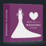 """Purple wedding planner binder or chic photo album<br><div class=""""desc"""">Stylish purple and white 3 ring binder for elegant wedding, bridal shower or engagement party. Personalizable chic wedding dress with veil organizer for planning marriages. Custom name of bride and groom couple plus personalizable date of marriage. Also makes a cute personalized gift idea for bride to be or soon to...</div>"""
