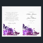 """Purple wedding program folded. Church ceremony<br><div class=""""desc"""">Matching items - https://goo.gl/4PZov8 ♥ You can change color or size of font: click on the button &quot;Customize&quot; ♥ Contact me,  please,  if you need additional items.</div>"""