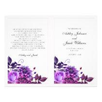 Purple wedding program folded. Church ceremony