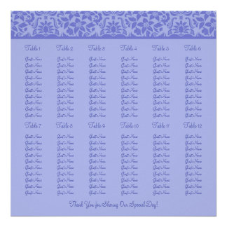 Purple Wedding Reception Seating Chart - Square Posters