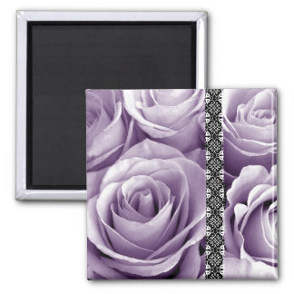 Purple Wedding Rose Bouquet with Lace 2 Inch Square Magnet