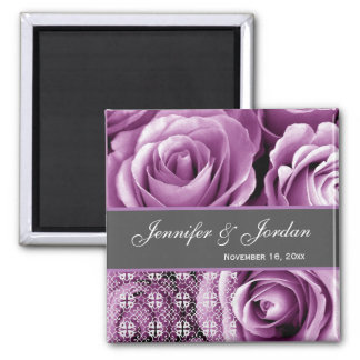 Purple Wedding Rose Bouquet with Lace 3 2 Inch Square Magnet