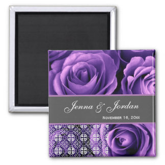 Purple Wedding Rose Bouquet with Lace 3A 2 Inch Square Magnet