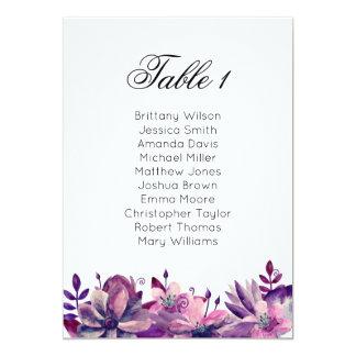 Purple wedding seating chart. Boho table plan Card