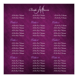 Purple wedding seating charts poster