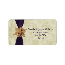 purple wedding snowflake return address label