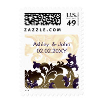 purple wedding stamps