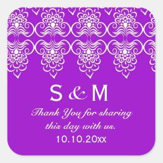 Purple Wedding Thank You Monogram Sticker