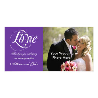Purple Wedding Thank You Photo Card Template