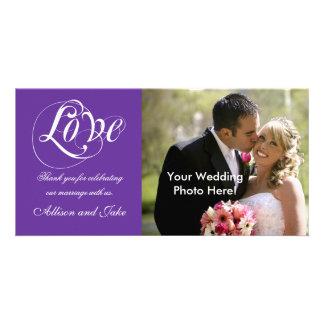 Purple Wedding Thank You Photo Card Template