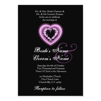 Purple Wedding Vintage Heart Card