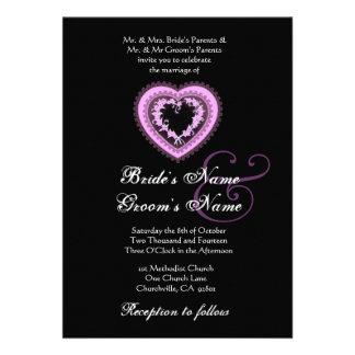 Purple Wedding Vintage Heart Invitation