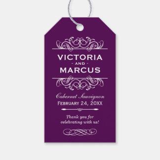 Purple Wedding Wine Bottle Monogram Favor Tags Pack Of Gift Tags