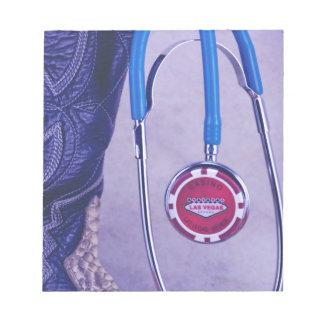 Purple Western Boot Doctor Gambling Stethoscope Notepad