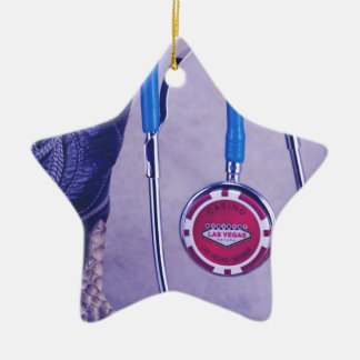 Purple Western Boot Doctor Gambling Stethoscope Double-Sided Star Ceramic Christmas Ornament