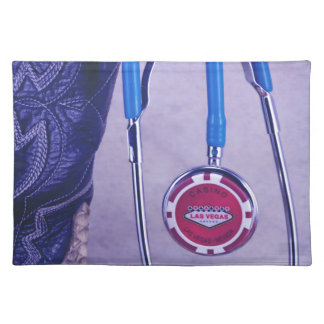 Purple Western Boot Doctor Gambling Stethoscope Placemat