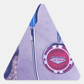 Purple Western Boot Doctor Gambling Stethoscope Triangle Sticker