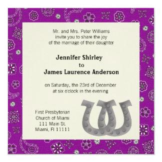 Purple Western Wedding Invitation