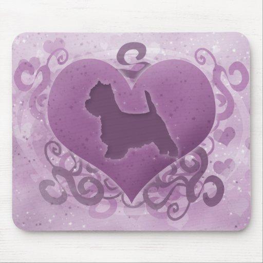 Purple Westie Valentine Mouse Pad