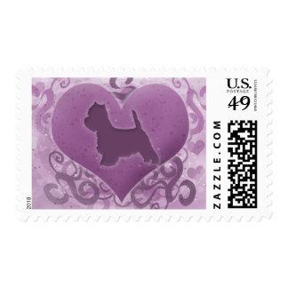 Purple Westie Valentine Postage Stamps