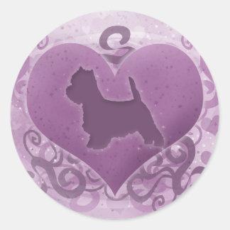 Purple Westie Valentine Classic Round Sticker