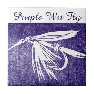 """Purple Wet Fly"" trout fly tile. Ceramic Tile"