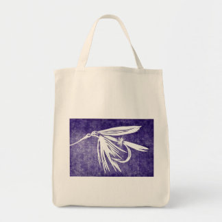 """""""Purple Wet Fly"""" Trout Wet Fly Grocery Tote"""