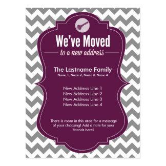 Purple We've Moved Change of Address Postcards