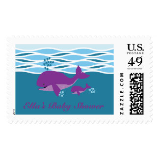 Purple Whale Baby Shower Stamp
