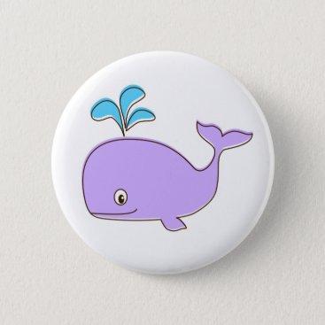 Beach Themed Purple Whale Button