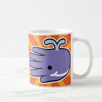 Hand shaped Purple Whale Smiles Coffee Mugs