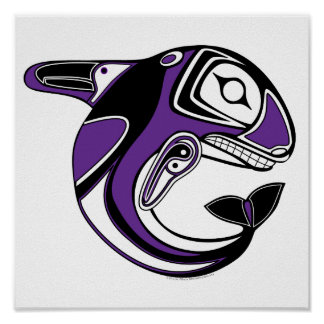 Purple Whale Totem Poster