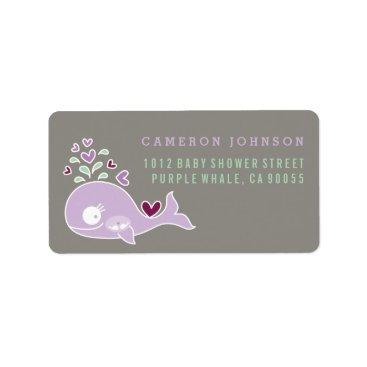 Beach Themed Purple Whale Twin Girls Baby Shower Address Label
