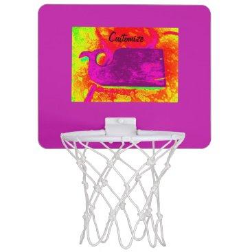 Beach Themed purple whale yellow Thunder_Cove Mini Basketball Hoop