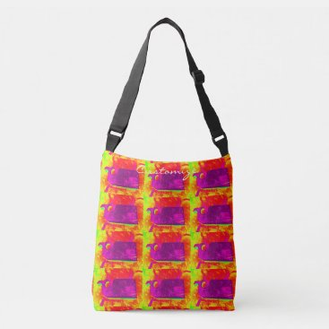 Beach Themed purple whales yellow Thunder_Cove Crossbody Bag