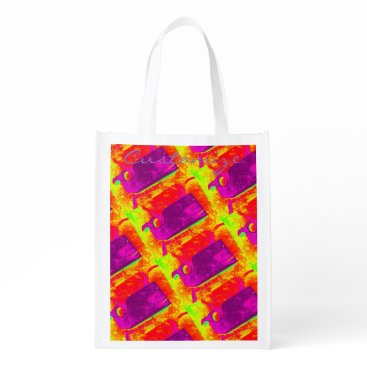 Beach Themed purple whales yellow Thunder_Cove Grocery Bag